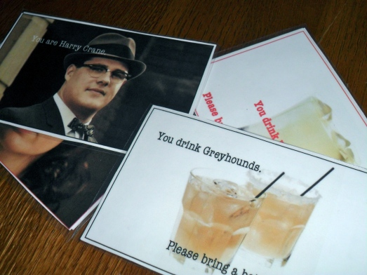 Mad Men character cards for party