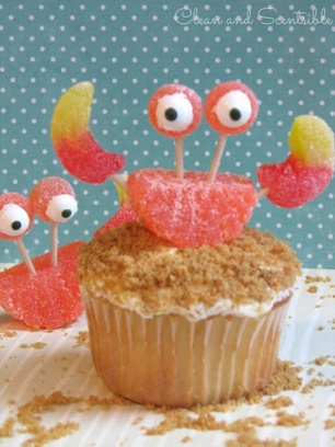 Fruit Candy Crab Cupcakes