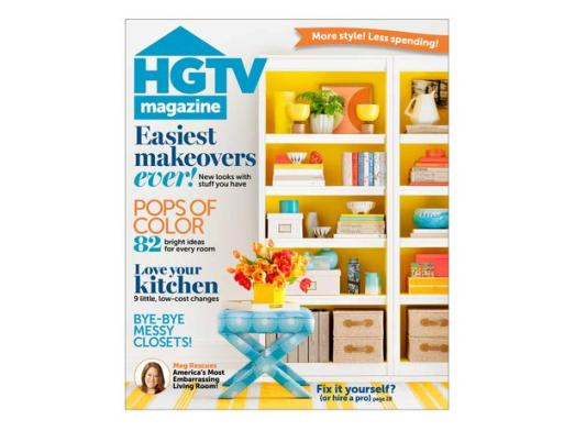 HGTV Magazine - White and Yellow Bookcase