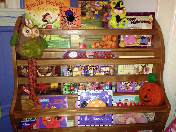 Olivia's Halloween and Fall Books in Land of the Nod Bookcase