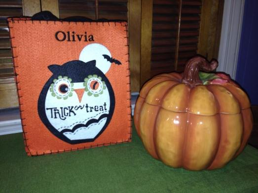 Pottery Barn Trick or Treat Bag and Ceramic Pumpkin