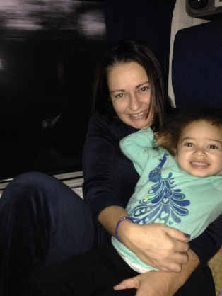 Olivia and Mommy on the train to Atlanta