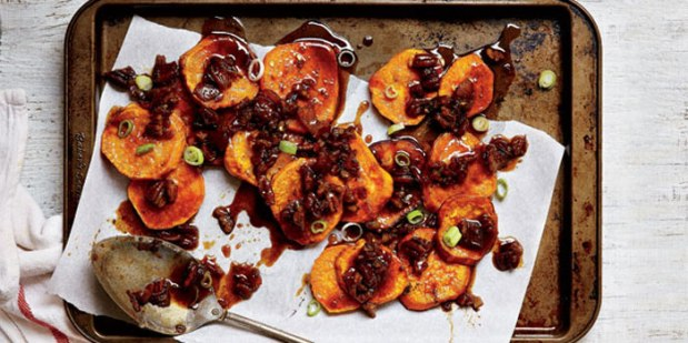 Candied Sweet Potatoes with Pecan Bacon Syrup From Garden and Gun Magazine