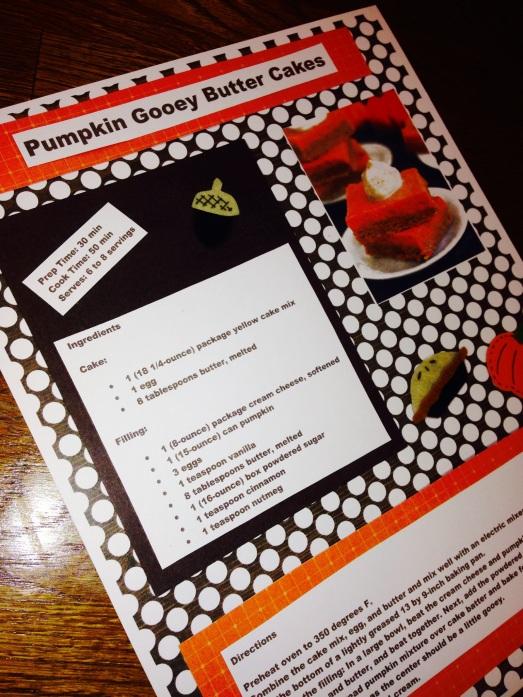 photoPumpkin Gooey Butter Cakes Scrapbook page