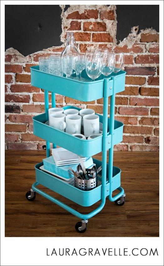 IKEA cart used as a bar from LauraGravelle.com