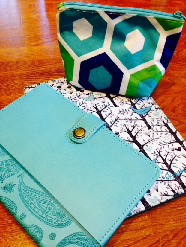 Teal Journal, iPad and charger case