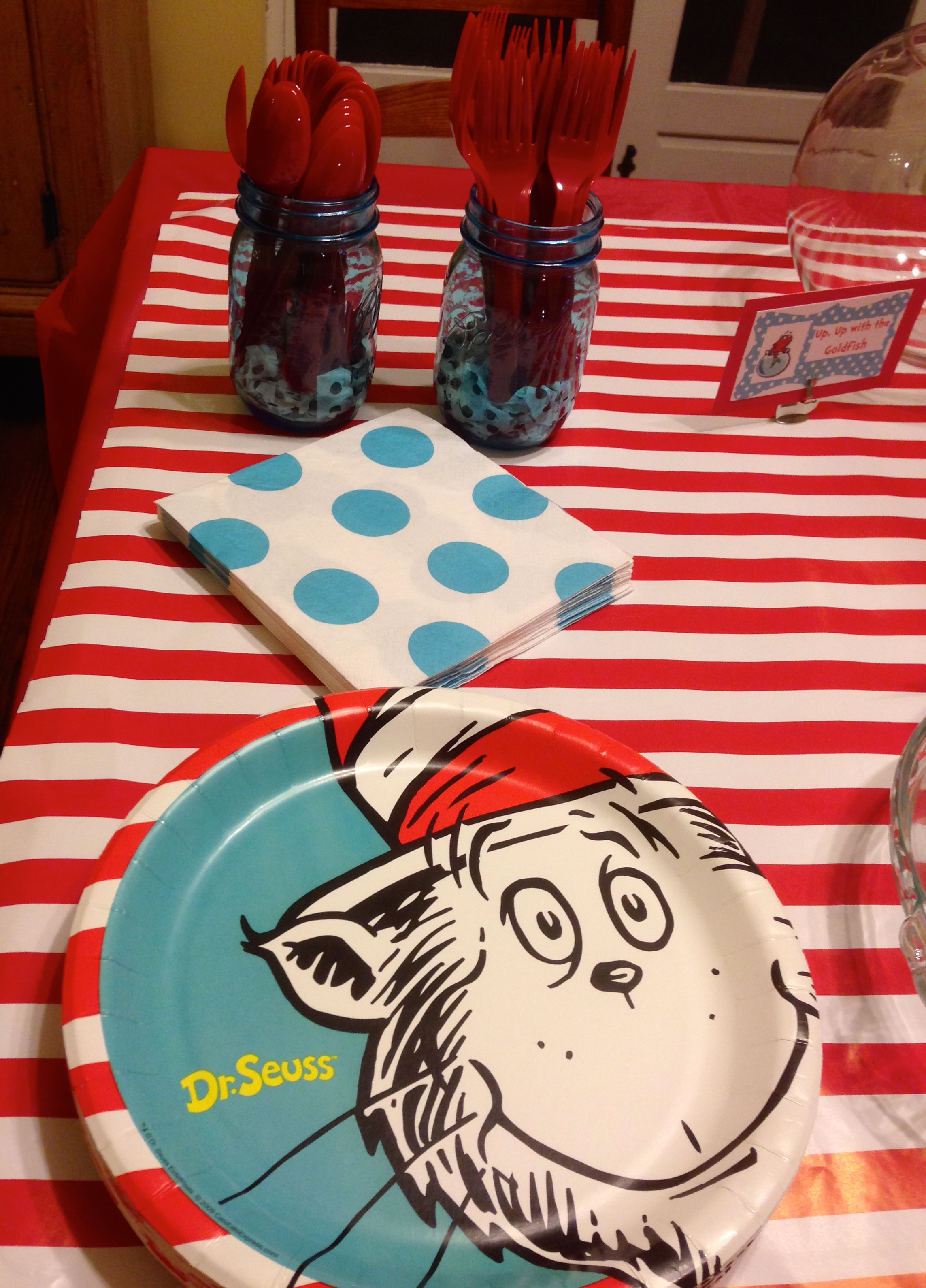I Used A Plastic Red Tablecloth And Then White Striped Wrapping Paper For The Table
