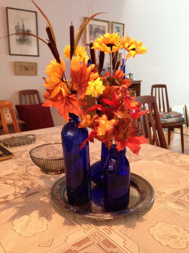 Autumn_blue glass centerpiece