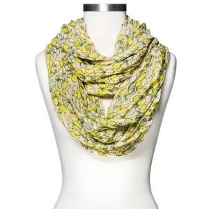 Women's Lemons Print Infinity Crinkle Scarf - Yellow_Target