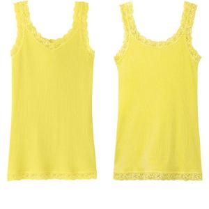 ribbed lace yellow women's tank top_uniqlo